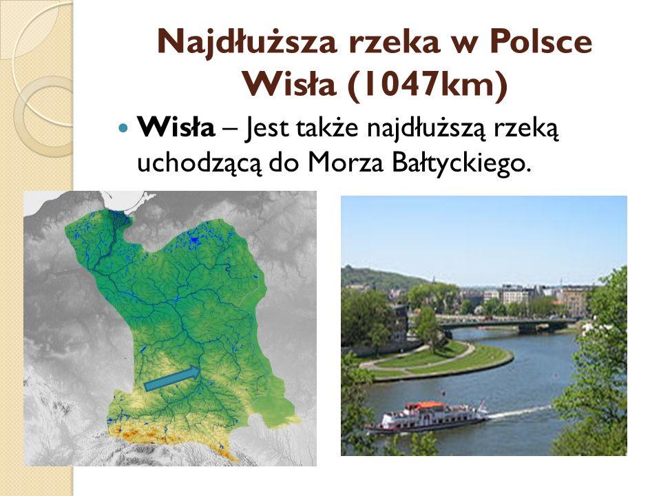 Najdłuższa rzeka w Polsce Wisła (1047km)