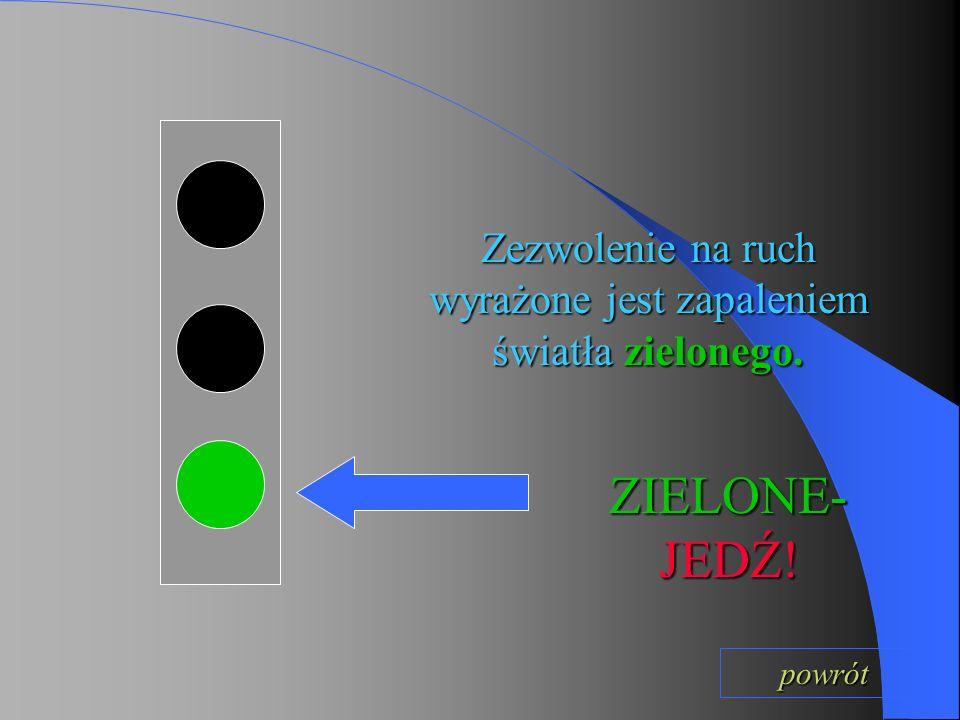 Zezwolenie na ruch wyrażone jest zapaleniem światła zielonego.