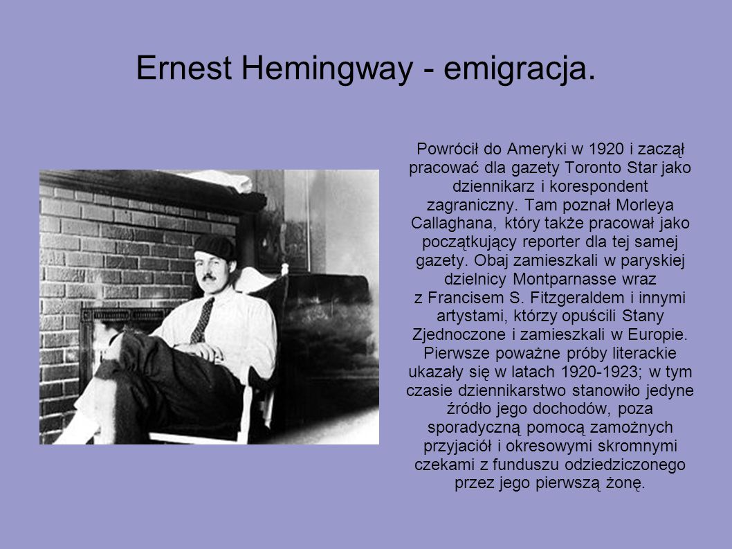 Ernest Hemingway - emigracja.
