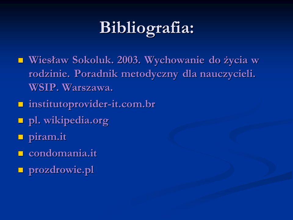 Bibliografia: Wiesław Sokoluk. 2003. Wychowanie do życia w rodzinie. Poradnik metodyczny dla nauczycieli. WSIP. Warszawa.