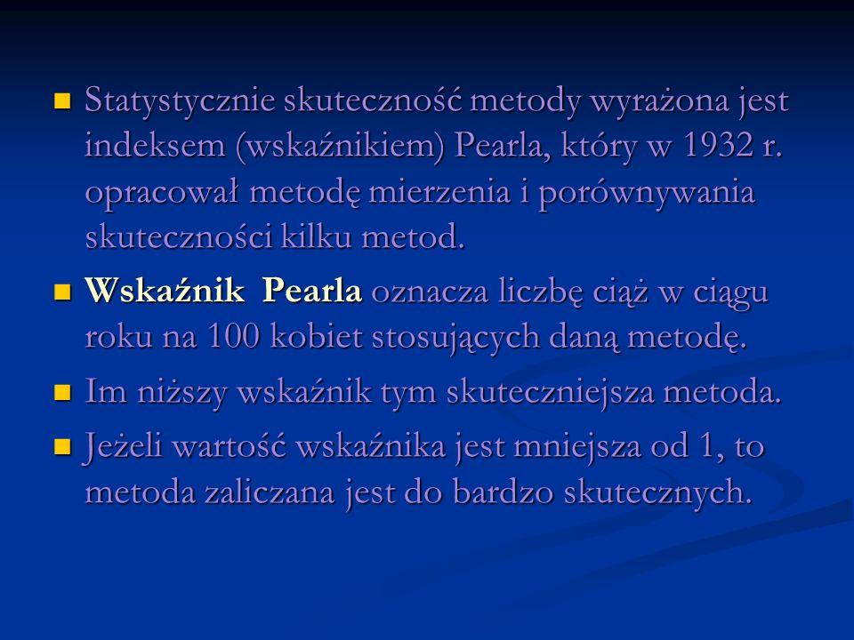 Statystycznie skuteczność metody wyrażona jest indeksem (wskaźnikiem) Pearla, który w 1932 r. opracował metodę mierzenia i porównywania skuteczności kilku metod.