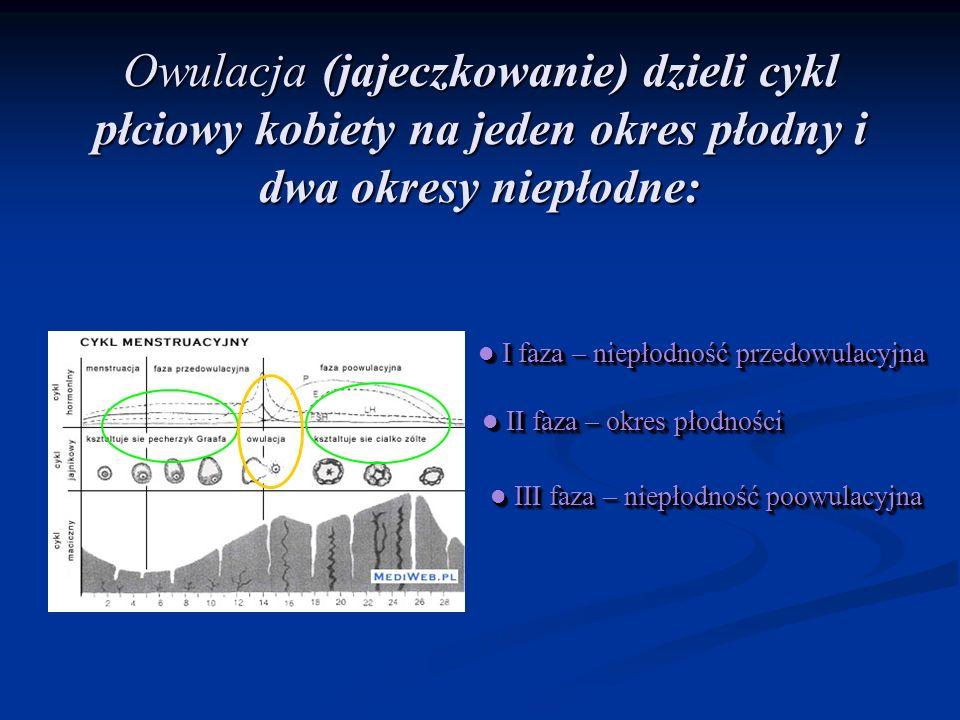 Owulacja (jajeczkowanie) dzieli cykl płciowy kobiety na jeden okres płodny i dwa okresy niepłodne: