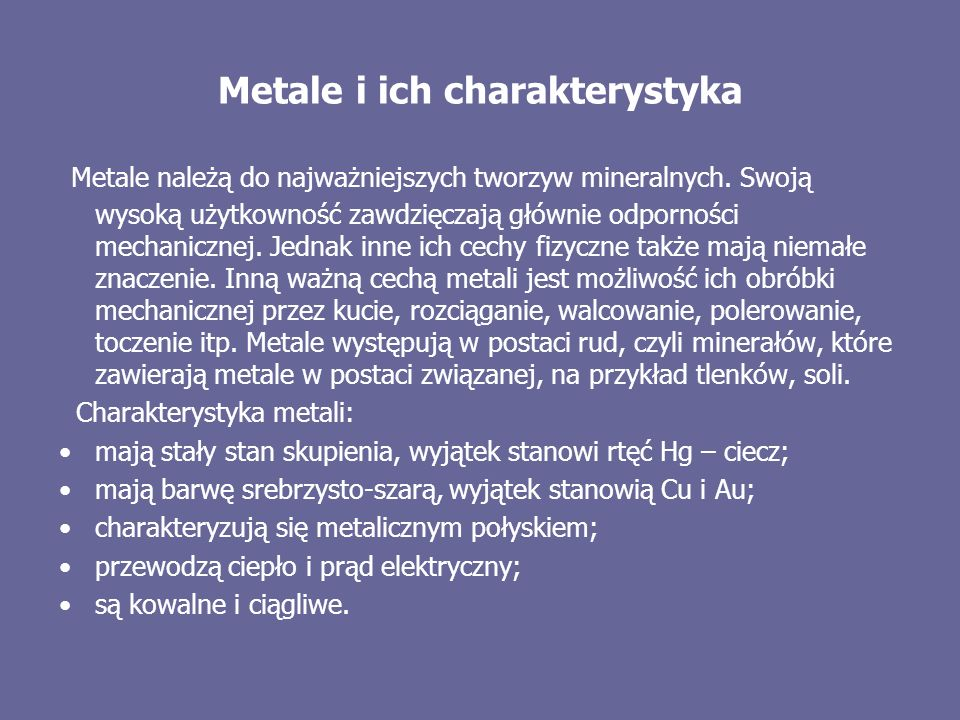 Metale i ich charakterystyka