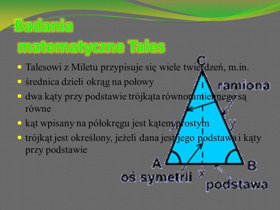 Badania matematyczne Tales