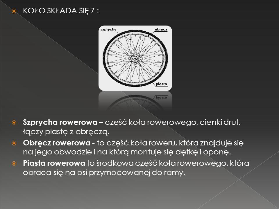 KOŁO SKŁADA SIĘ Z : Szprycha rowerowa – część koła rowerowego, cienki drut, łączy piastę z obręczą.
