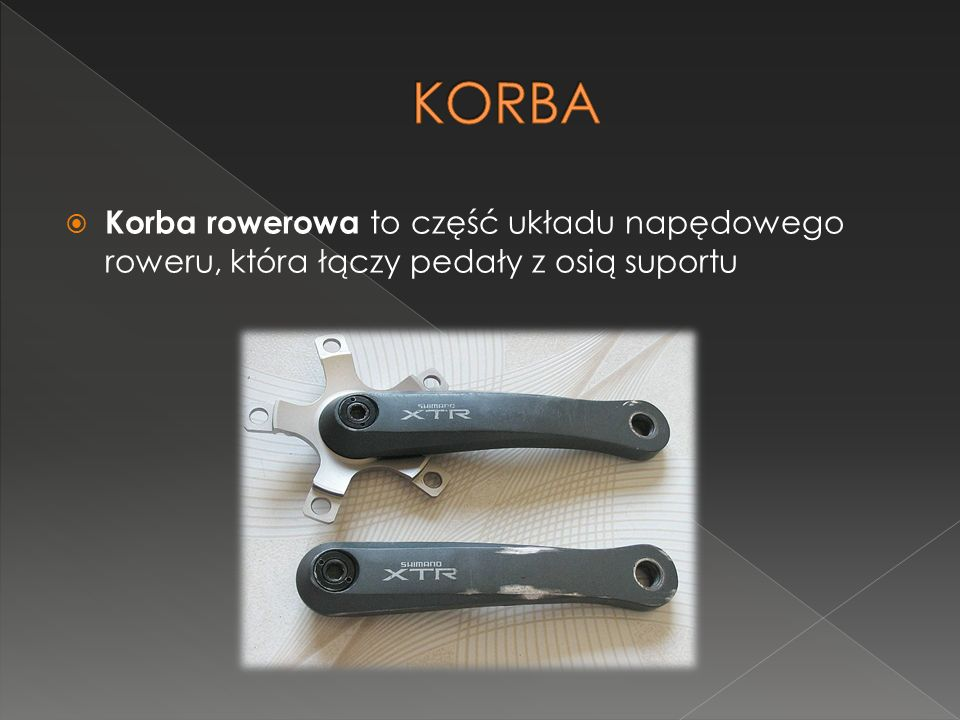 KORBA Korba rowerowa to część układu napędowego roweru, która łączy pedały z osią suportu
