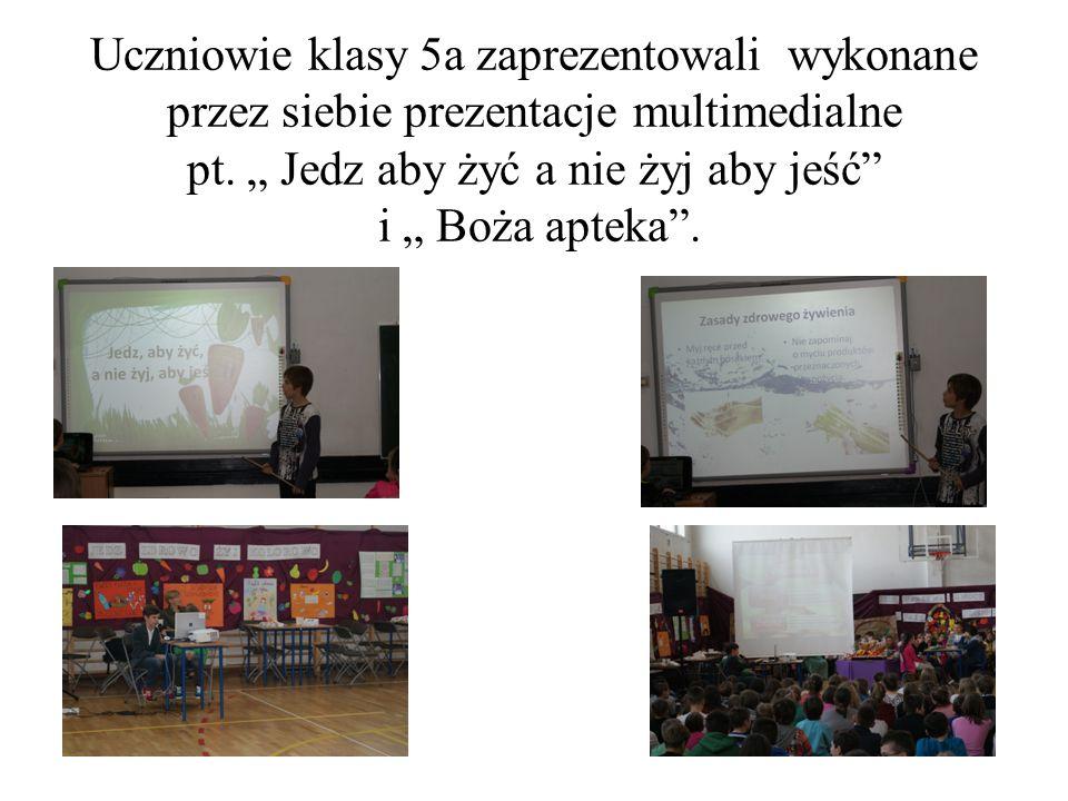 Uczniowie klasy 5a zaprezentowali wykonane przez siebie prezentacje multimedialne pt.