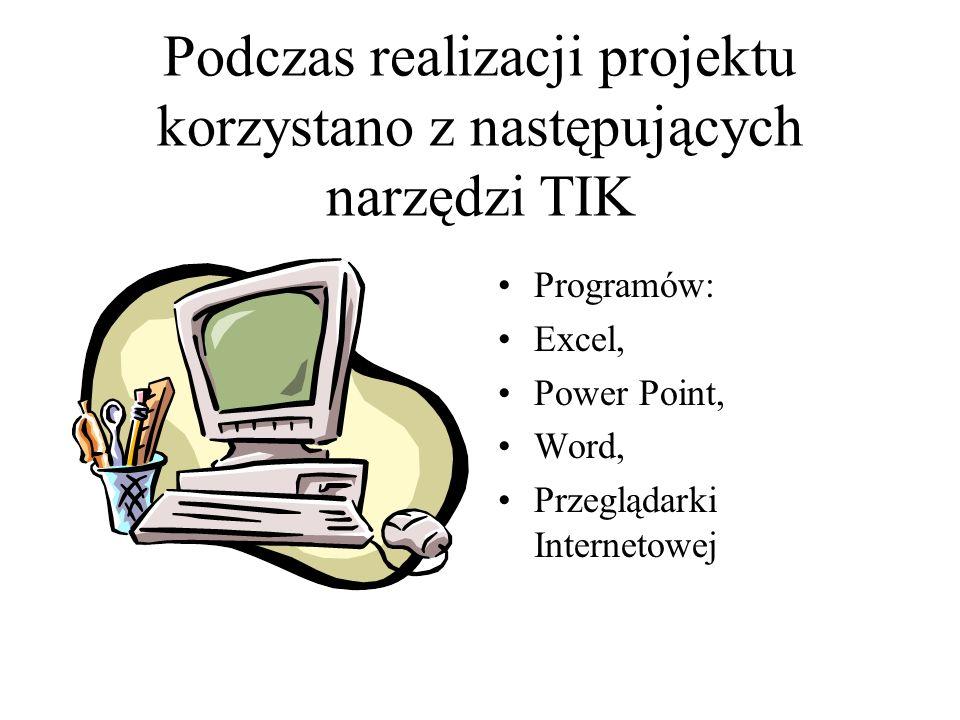Podczas realizacji projektu korzystano z następujących narzędzi TIK