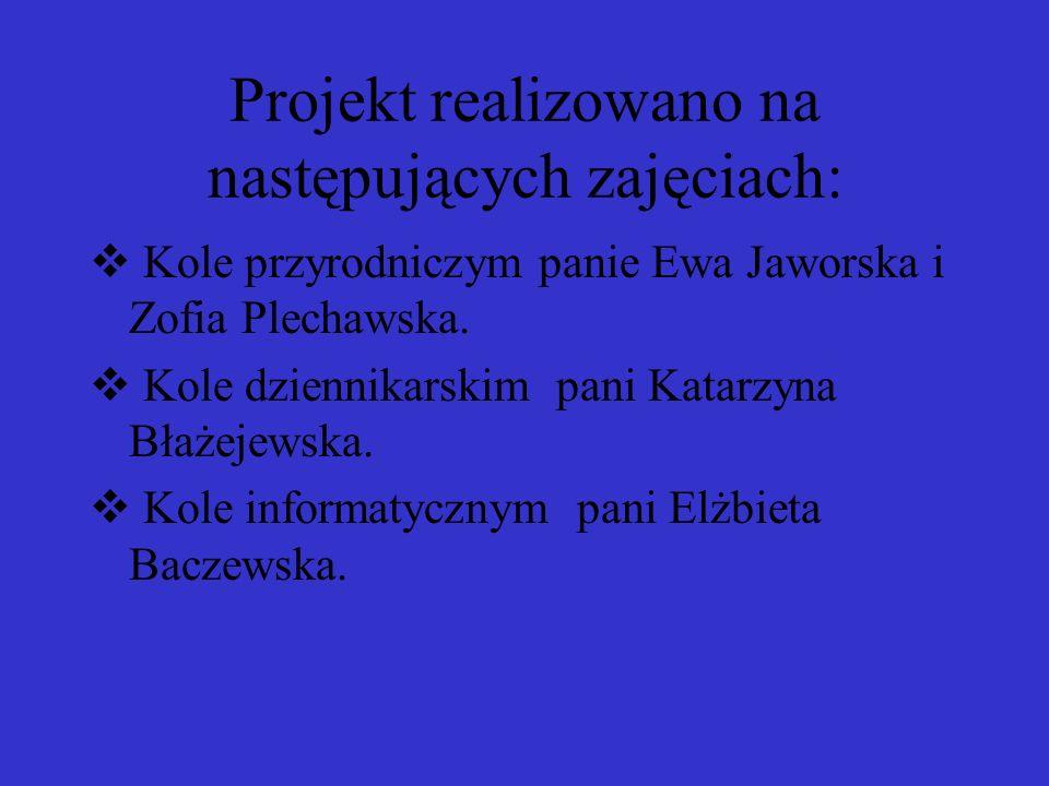 Projekt realizowano na następujących zajęciach: