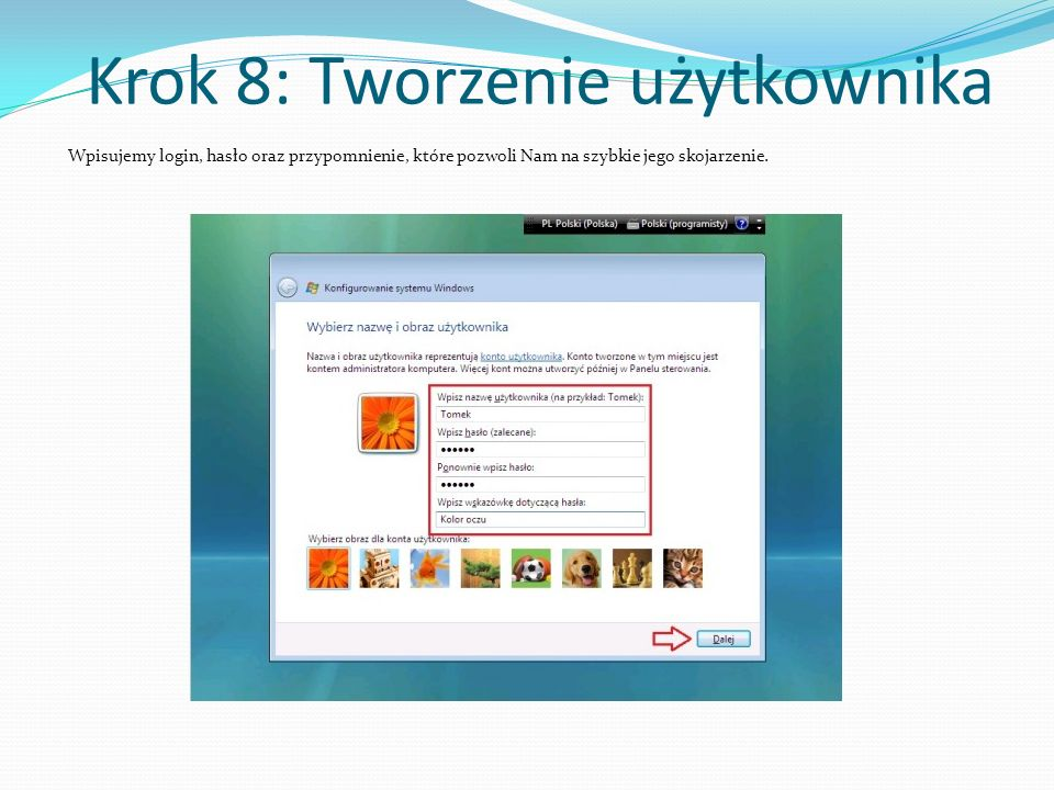 Krok 8: Tworzenie użytkownika