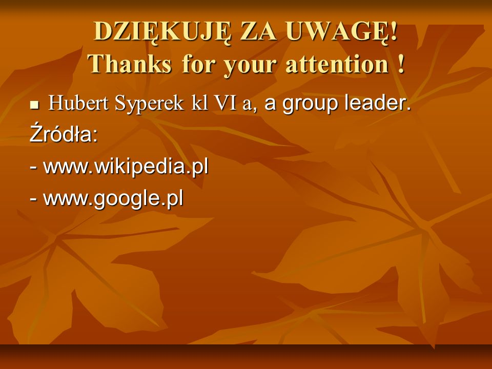 DZIĘKUJĘ ZA UWAGĘ! Thanks for your attention !