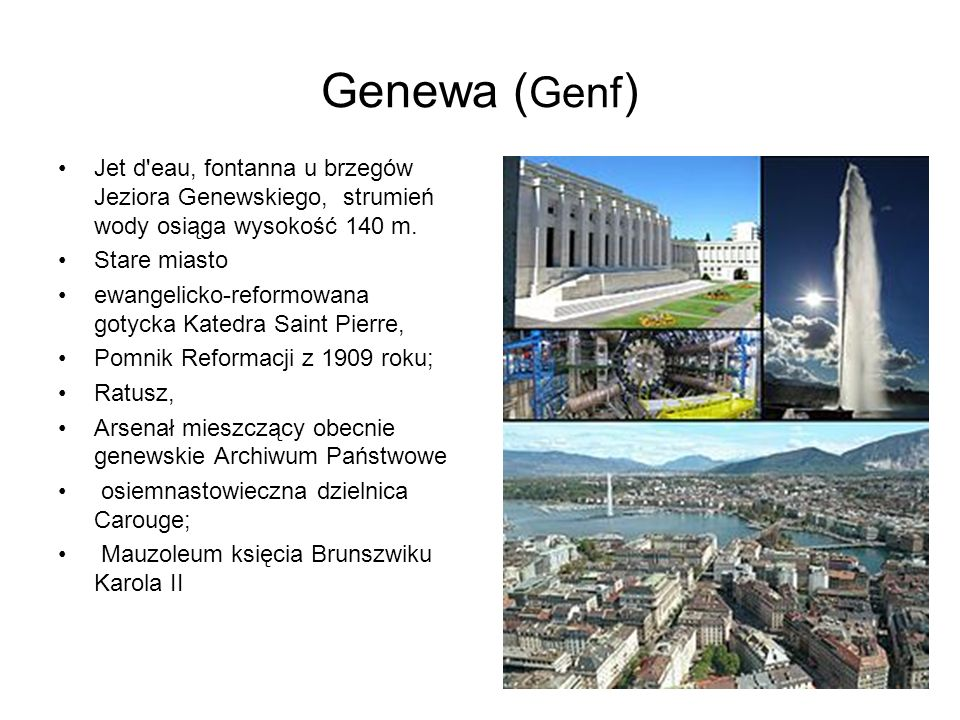 Genewa (Genf) Jet d eau, fontanna u brzegów Jeziora Genewskiego, strumień wody osiąga wysokość 140 m.