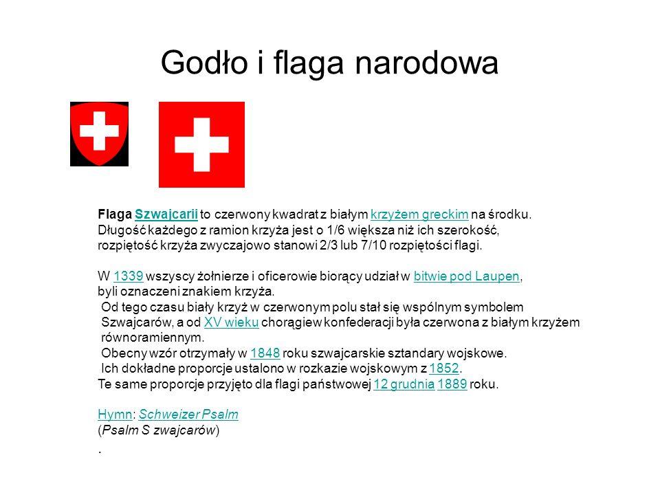 Godło i flaga narodowaFlaga Szwajcarii to czerwony kwadrat z białym krzyżem greckim na środku.