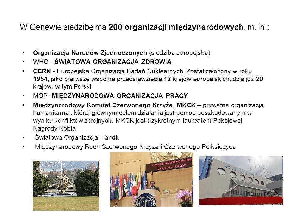 W Genewie siedzibę ma 200 organizacji międzynarodowych, m. in.: