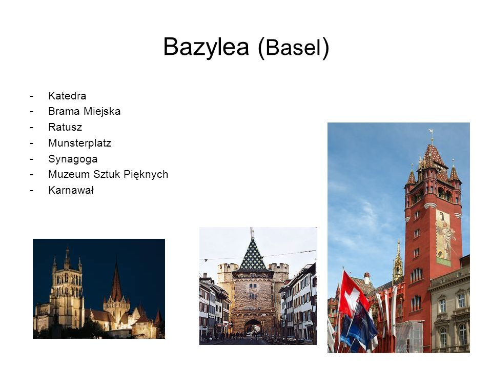 Bazylea (Basel) Katedra Brama Miejska Ratusz Munsterplatz Synagoga
