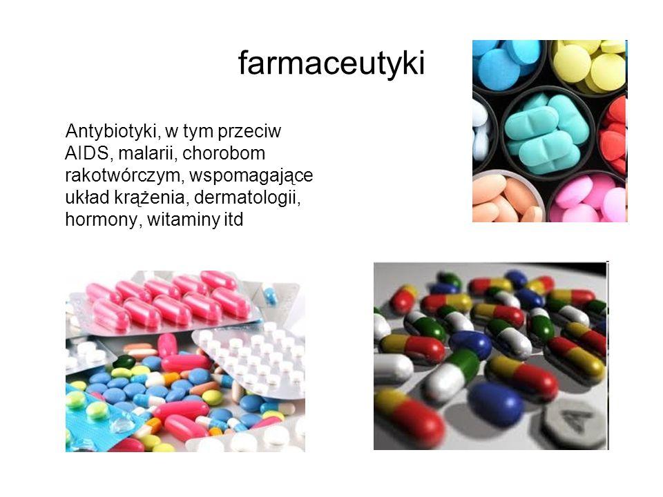 farmaceutyki Antybiotyki, w tym przeciw AIDS, malarii, chorobom rakotwórczym, wspomagające układ krążenia, dermatologii, hormony, witaminy itd.