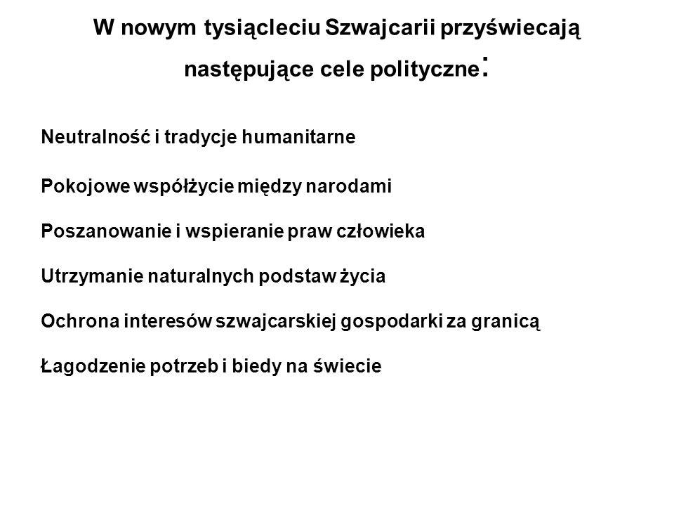 W nowym tysiącleciu Szwajcarii przyświecają następujące cele polityczne: