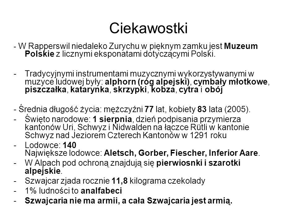 Ciekawostki- W Rapperswil niedaleko Zurychu w pięknym zamku jest Muzeum Polskie z licznymi eksponatami dotyczącymi Polski.