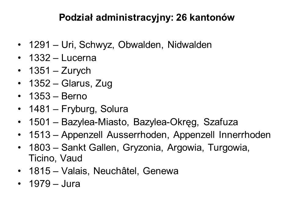 Podział administracyjny: 26 kantonów