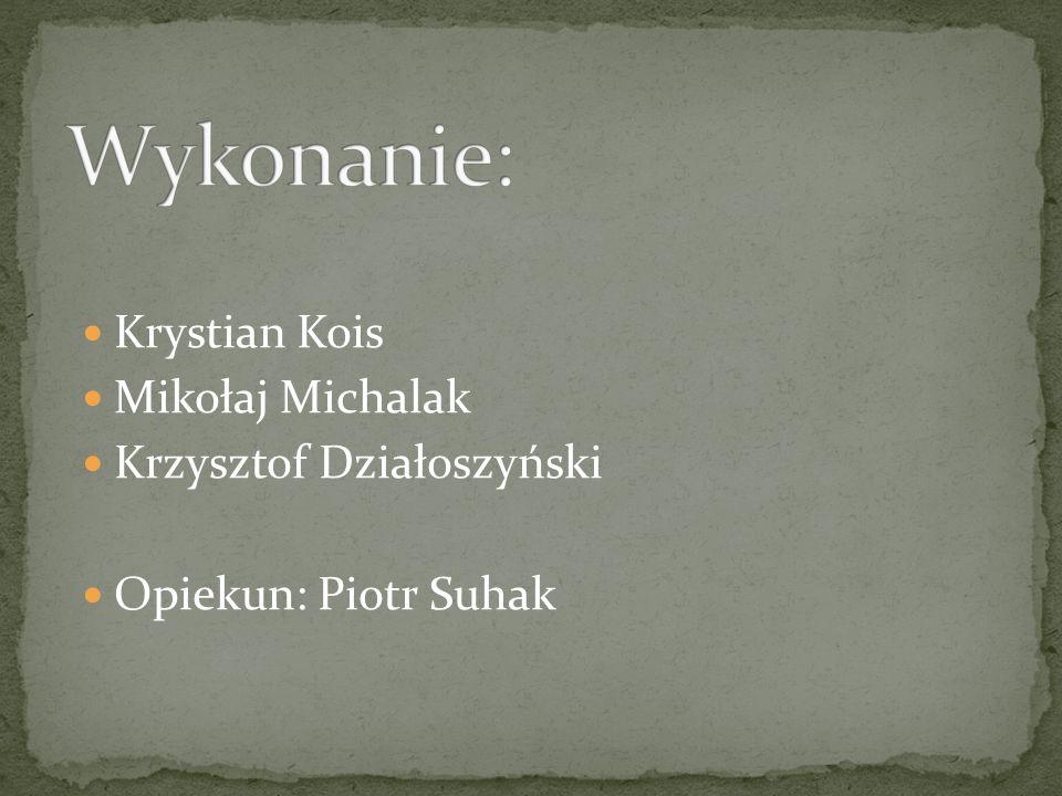 Wykonanie: Krystian Kois Mikołaj Michalak Krzysztof Działoszyński