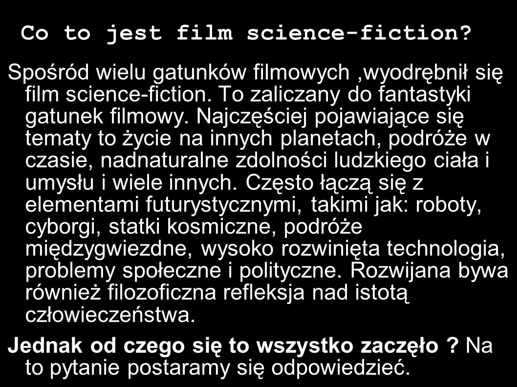 Co to jest film science-fiction
