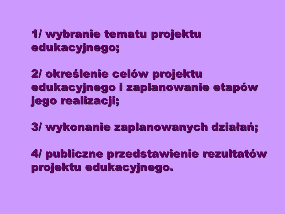 1/ wybranie tematu projektu edukacyjnego; 2/ określenie celów projektu edukacyjnego i zaplanowanie etapów jego realizacji; 3/ wykonanie zaplanowanych działań; 4/ publiczne przedstawienie rezultatów projektu edukacyjnego.