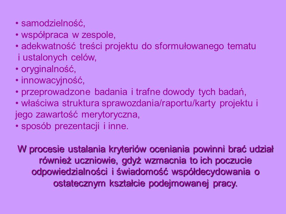 • adekwatność treści projektu do sformułowanego tematu