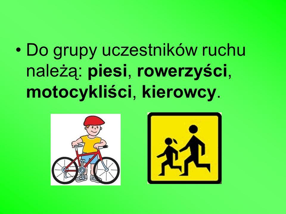 Do grupy uczestników ruchu należą: piesi, rowerzyści, motocykliści, kierowcy.
