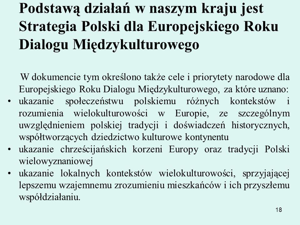 Podstawą działań w naszym kraju jest Strategia Polski dla Europejskiego Roku Dialogu Międzykulturowego