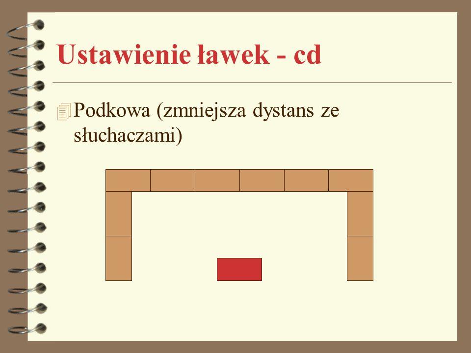 Ustawienie ławek - cd Podkowa (zmniejsza dystans ze słuchaczami)