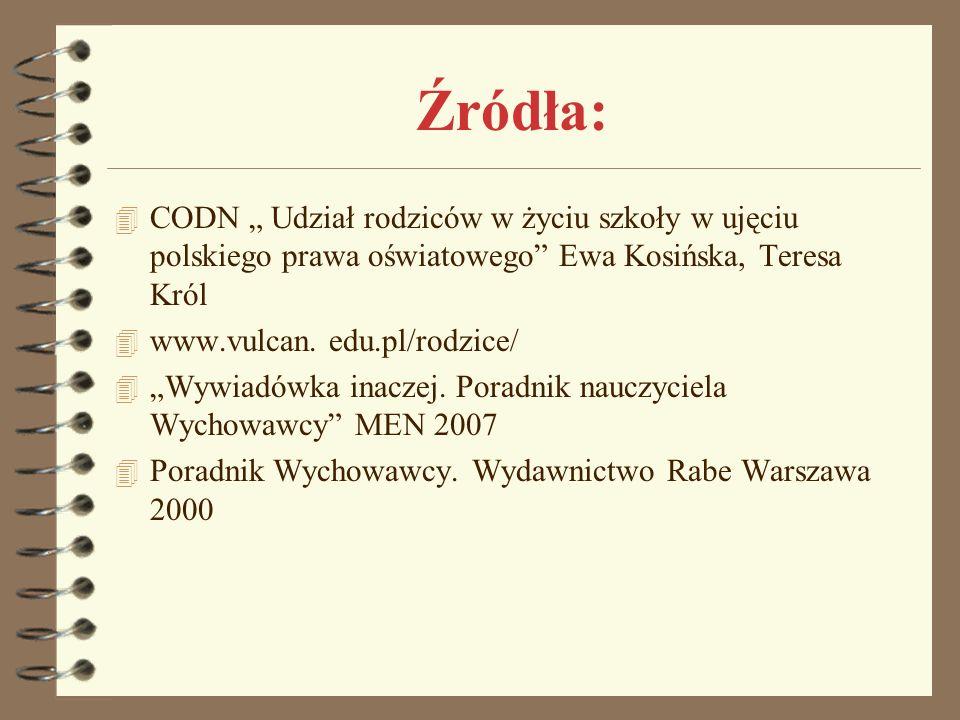 """Źródła: CODN """" Udział rodziców w życiu szkoły w ujęciu polskiego prawa oświatowego Ewa Kosińska, Teresa Król."""