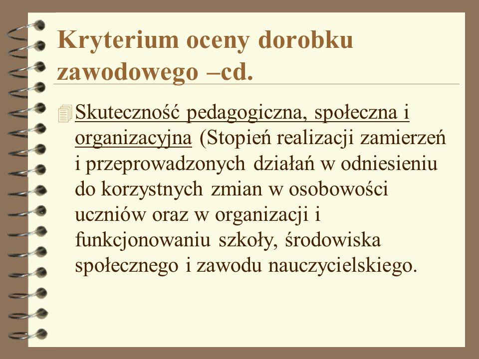 Kryterium oceny dorobku zawodowego –cd.