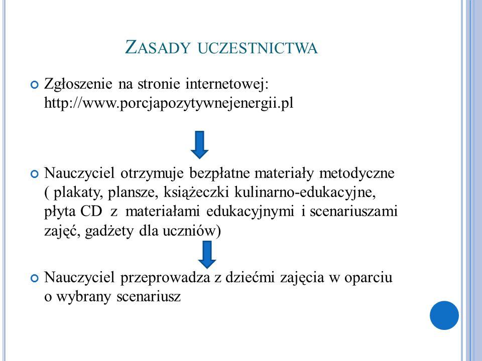 Zasady uczestnictwa Zgłoszenie na stronie internetowej: http://www.porcjapozytywnejenergii.pl.