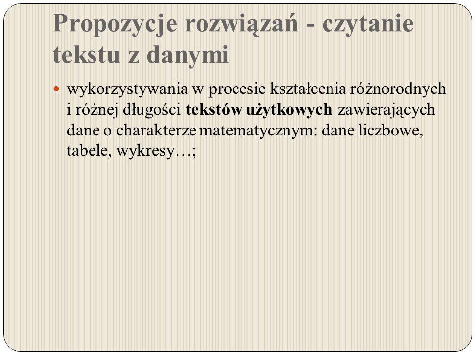 Propozycje rozwiązań - czytanie tekstu z danymi