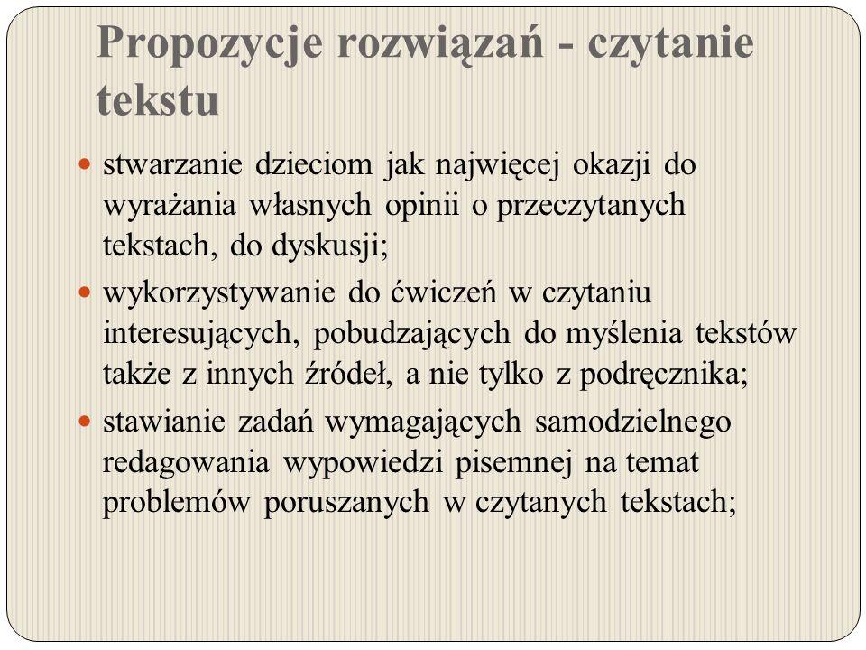 Propozycje rozwiązań - czytanie tekstu