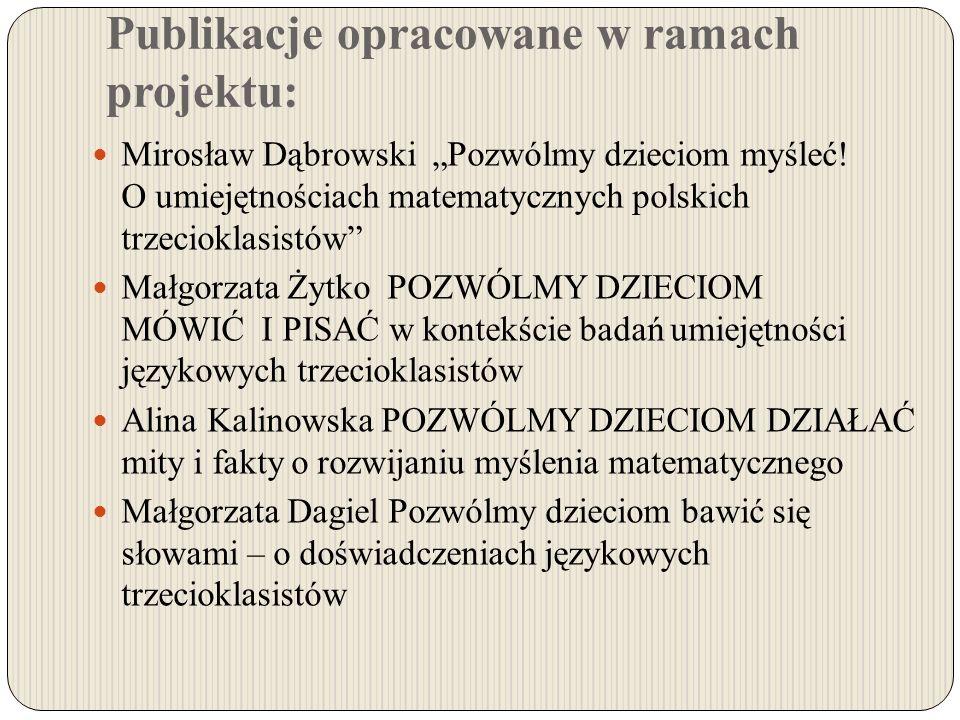 Publikacje opracowane w ramach projektu: