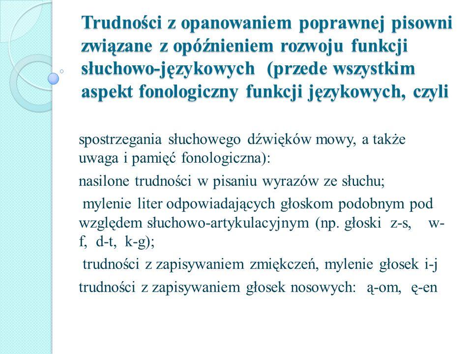 Trudności z opanowaniem poprawnej pisowni związane z opóźnieniem rozwoju funkcji słuchowo-językowych (przede wszystkim aspekt fonologiczny funkcji językowych, czyli