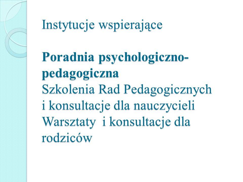 Instytucje wspierające Poradnia psychologiczno- pedagogiczna Szkolenia Rad Pedagogicznych i konsultacje dla nauczycieli Warsztaty i konsultacje dla rodziców