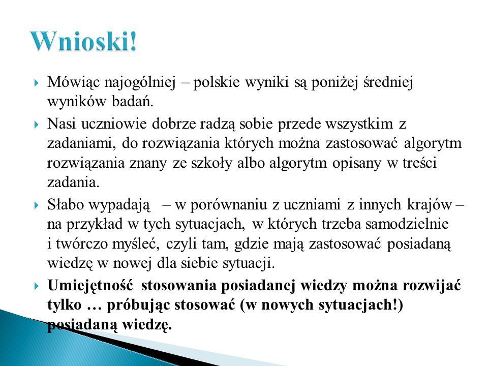 Wnioski!Mówiąc najogólniej – polskie wyniki są poniżej średniej wyników badań.