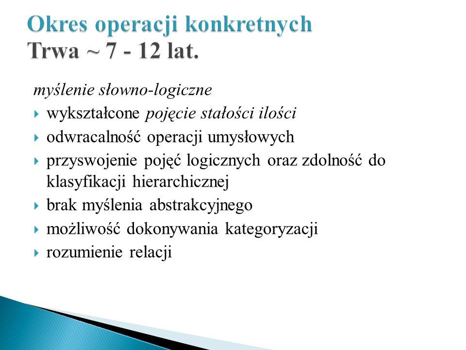 Okres operacji konkretnych Trwa ~ 7 - 12 lat.