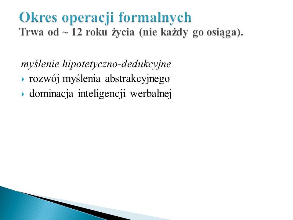 Okres operacji formalnych Trwa od ~ 12 roku życia (nie każdy go osiąga).