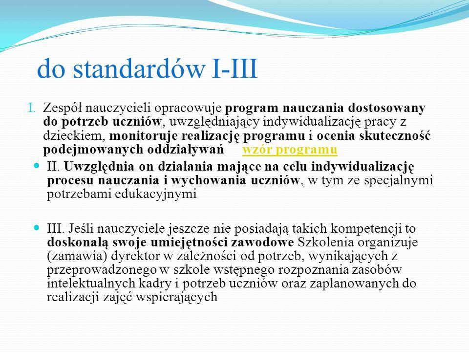 do standardów I-III