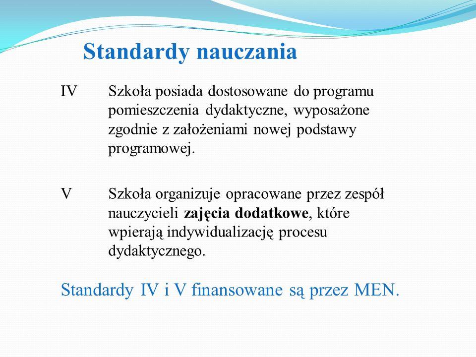 Standardy nauczania Standardy IV i V finansowane są przez MEN.