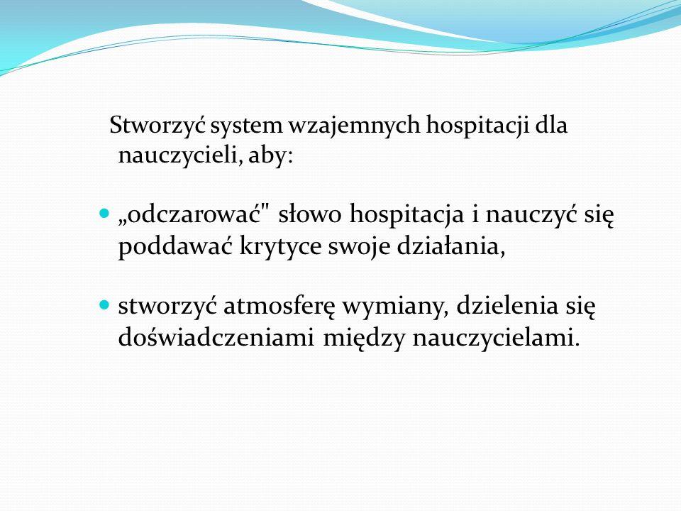 Stworzyć system wzajemnych hospitacji dla nauczycieli, aby: