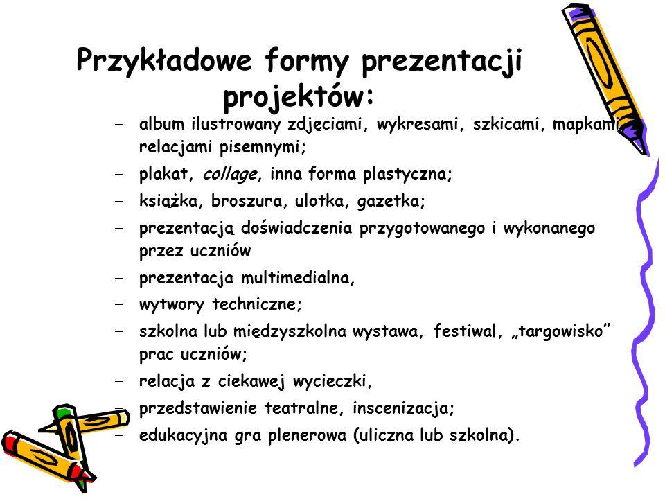 Przykładowe formy prezentacji projektów:
