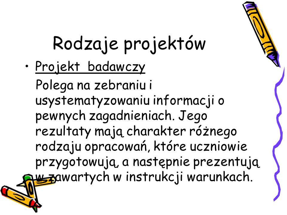 Rodzaje projektów Projekt badawczy