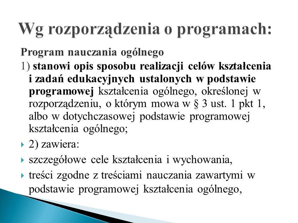 Wg rozporządzenia o programach: