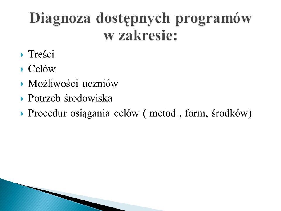 Diagnoza dostępnych programów w zakresie: