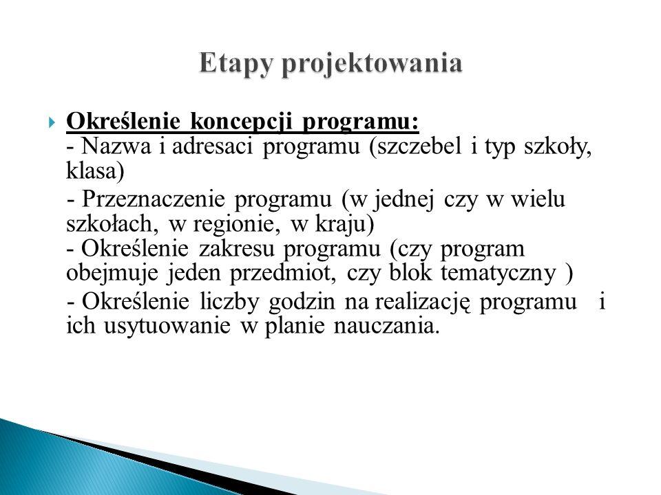 Etapy projektowania Określenie koncepcji programu: - Nazwa i adresaci programu (szczebel i typ szkoły, klasa)