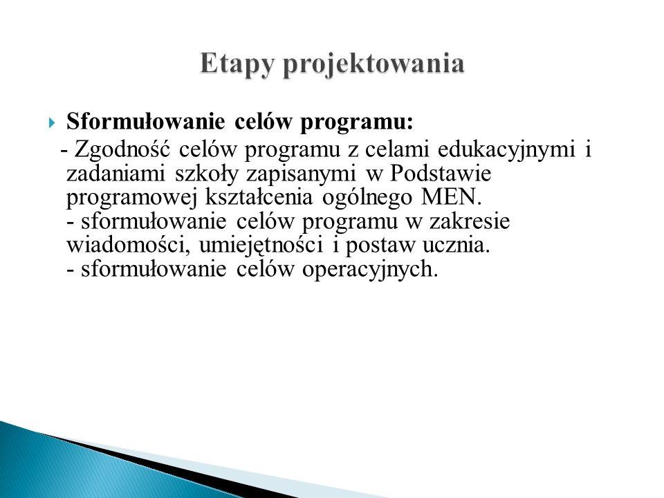 Etapy projektowania Sformułowanie celów programu: